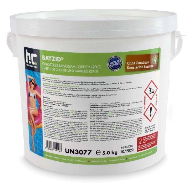BAYZID Chlortabletten 20g langsam löslich für Pools im 5kg Eimer