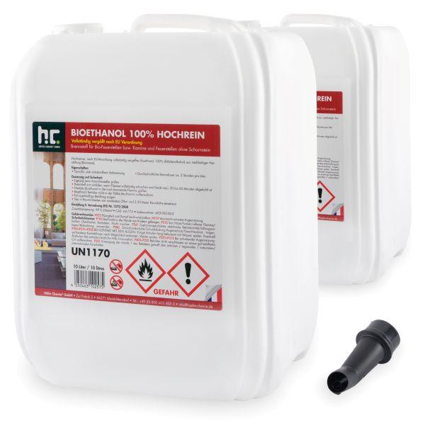 2 x 10 L Bioethanol 100% Hochrein Höfer Chemie 10L Kanister Ethanolkamin
