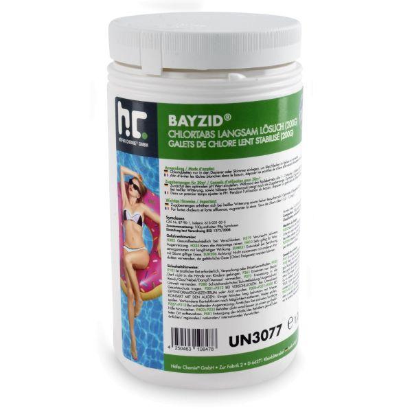 1kg langsam lösliche Chlortabletten 200g BAYZID Chlortabs
